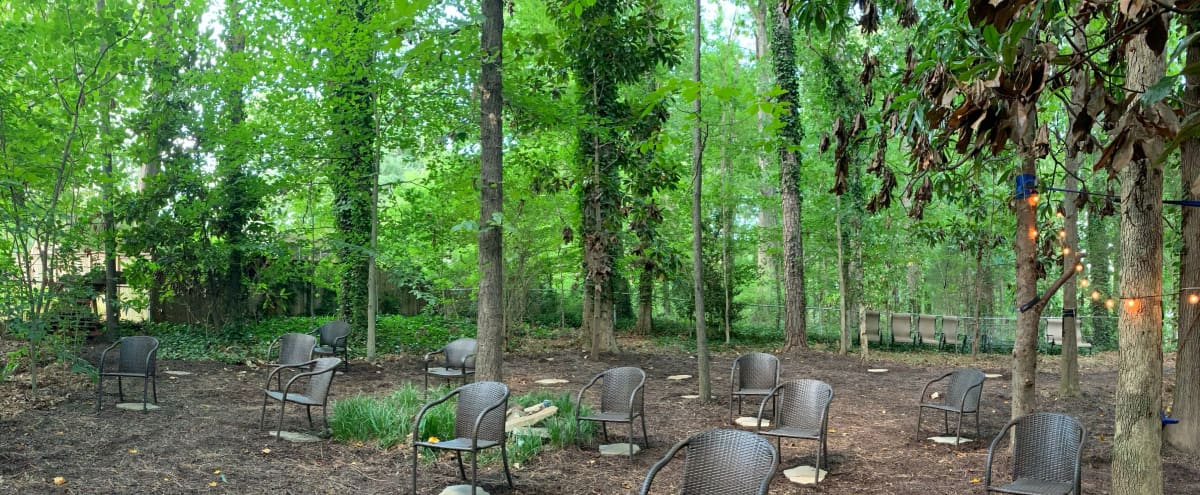 Outdoor Event/Meeting Space Fully Shaded in the Woods in Brookhaven Hero Image in North Brookhaven, Brookhaven, GA