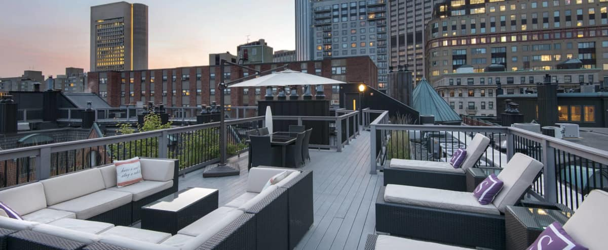 Spacious Roof Deck with Great Views of the City in Boston Hero Image in Back Bay, Boston, MA