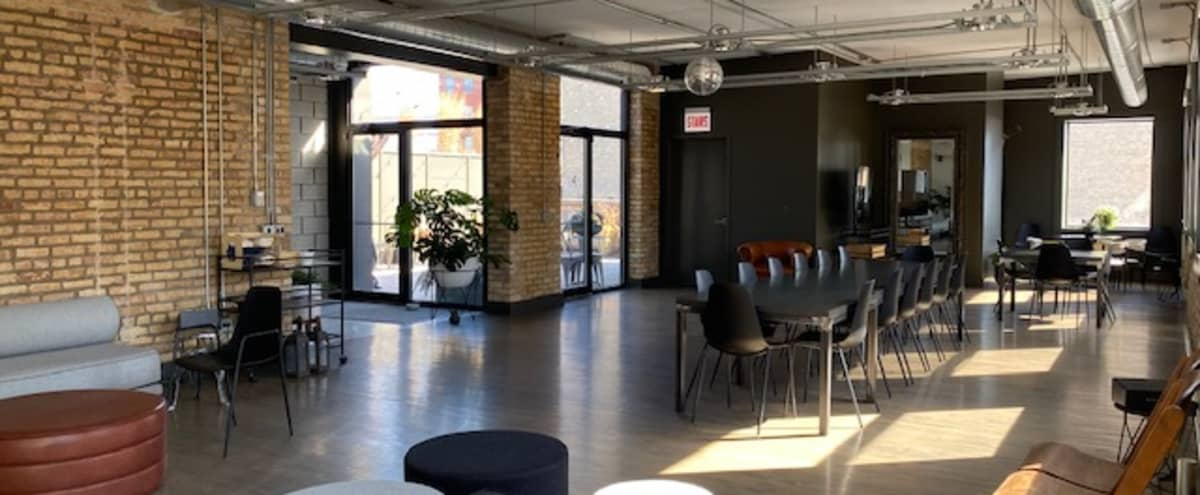 West Loop Loft Space with Skyline View and Roof Top Farm in Chicago Hero Image in West Loop, Chicago, IL