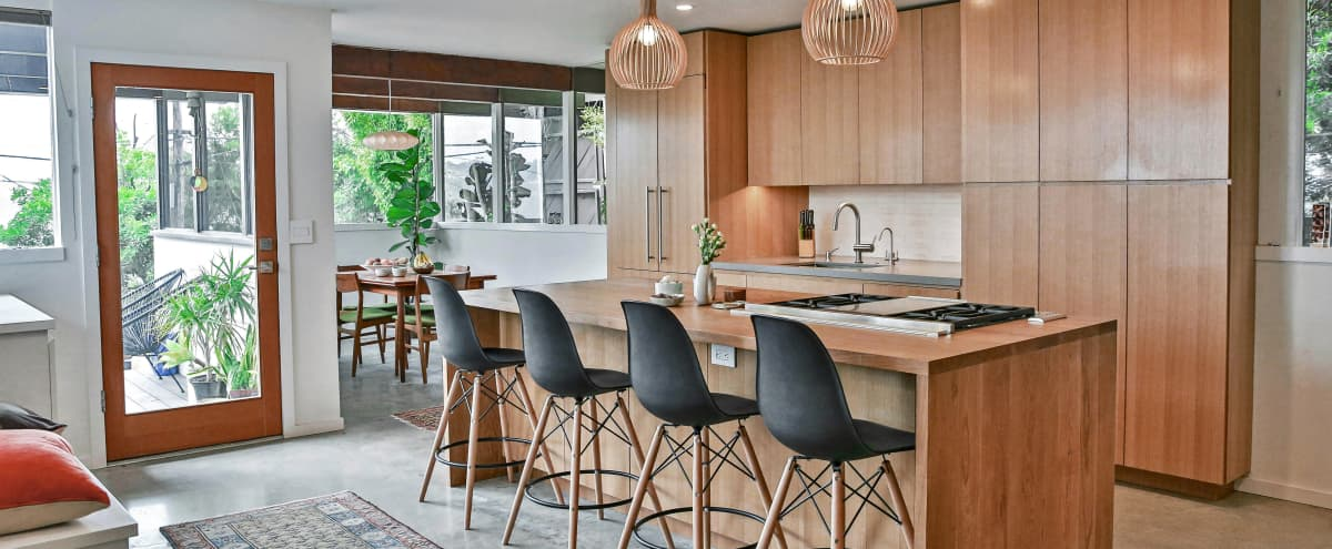 Mid Century Modern Wood Island Kitchen in Mt Washington, great for cooking shoots! in Los Angeles Hero Image in Mount Washington, Los Angeles, CA
