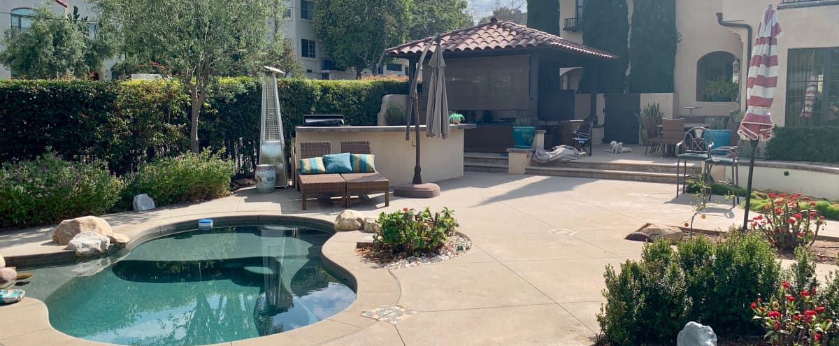 Resort Style Backyard, Pool, Outdoor living room in san diego Hero Image in Bankers Hill, san diego, CA