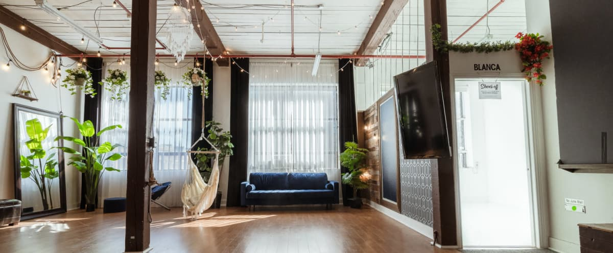 Natural Light Studio Equipped w/ Furniture + TV in Toronto Hero Image in Leslieville, Toronto, ON