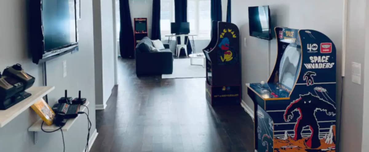 Logan Video Game Gallery With Views Of The 606 in Chicago Hero Image in Logan Square, Chicago, IL