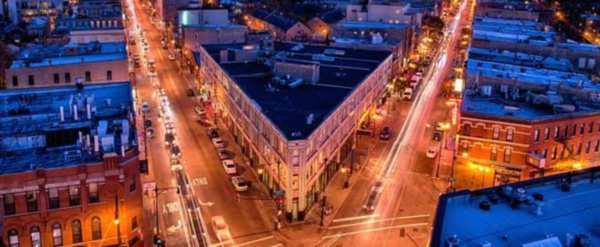 An ideal space in the center of wicker park for a variety of events including productions, film shoots, visual arts galleries, rehearsals, classes and special events. in Chicago Hero Image in Wicker Park, Chicago, IL