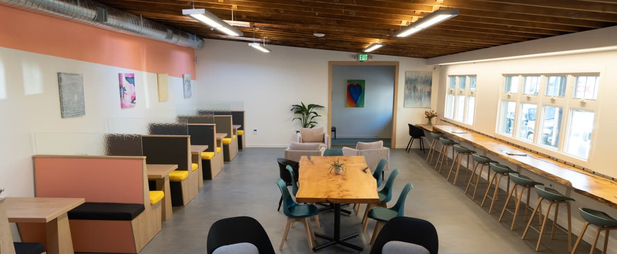 Spacious, modern, & vibrant event space with outdoor patio, kitchen, booths, and speaker system in Berkeley Hero Image in Southwest Berkeley, Berkeley, CA
