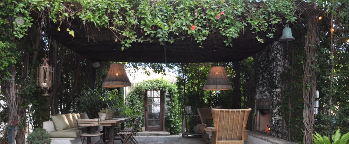 Tranquil private garden patio and Mediterranean home in Los Angeles Hero Image in Central LA, Los Angeles, CA