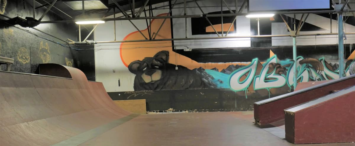 Industrial, Urban, Indoor Skate Park and Music Venue/Event Space with Sky Line View in Charlotte Hero Image in Belmont, Charlotte, NC