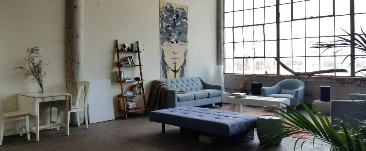 2000 square foot Bushwick Factory loft with natural light and skyline view in Brooklyn Hero Image in East Williamsburg, Brooklyn, NY