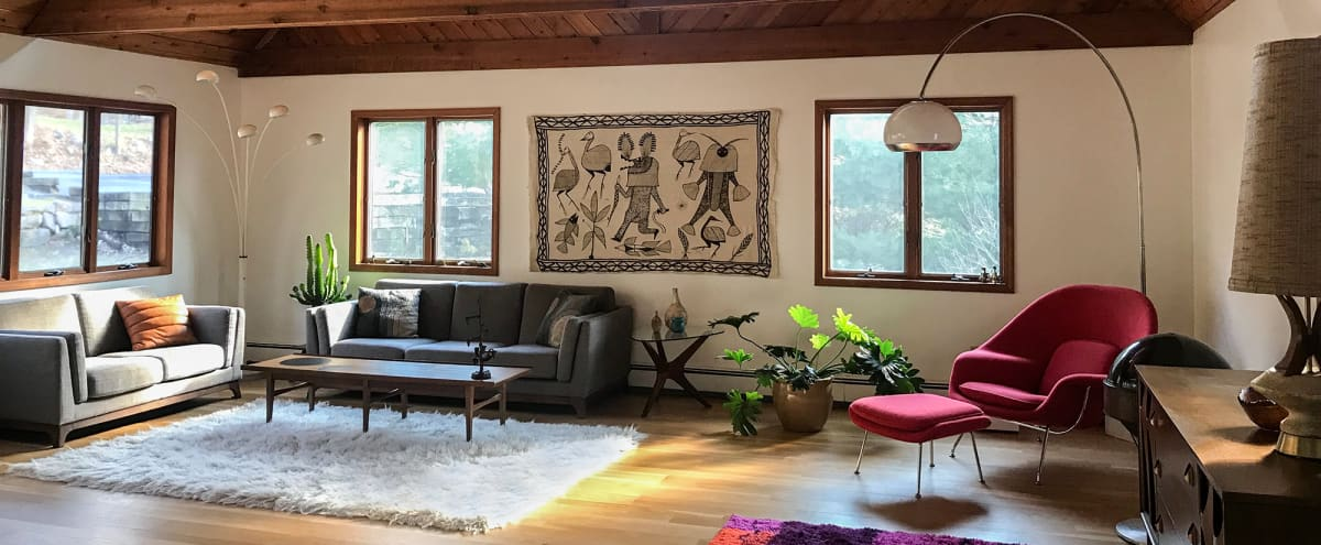 Upstate Mid Century Modern A-frame Mountain Chalet - Spacious, 2 levels, access to yard and balcony in BEACON Hero Image in undefined, BEACON, NY