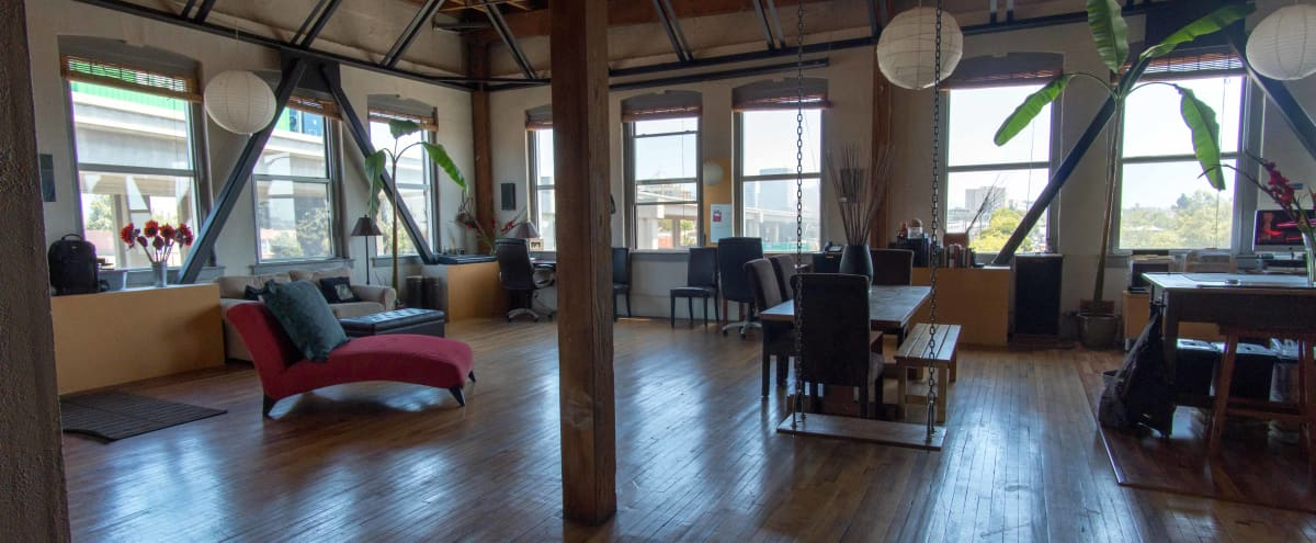 PROFESSIONAL QUALITY LIVE STREAMING AVAILABLE - Amazing Top Floor 1500 sq. ft. Studio/Work/Live Loft in West Oakland/Jack London Square (INDUSTRIAL AREA). Beautiful views of Jack London/Embarcadero/Downtown Oakland/Emeryville. in Oakland Hero Image in Acorn Industrial, Oakland, CA