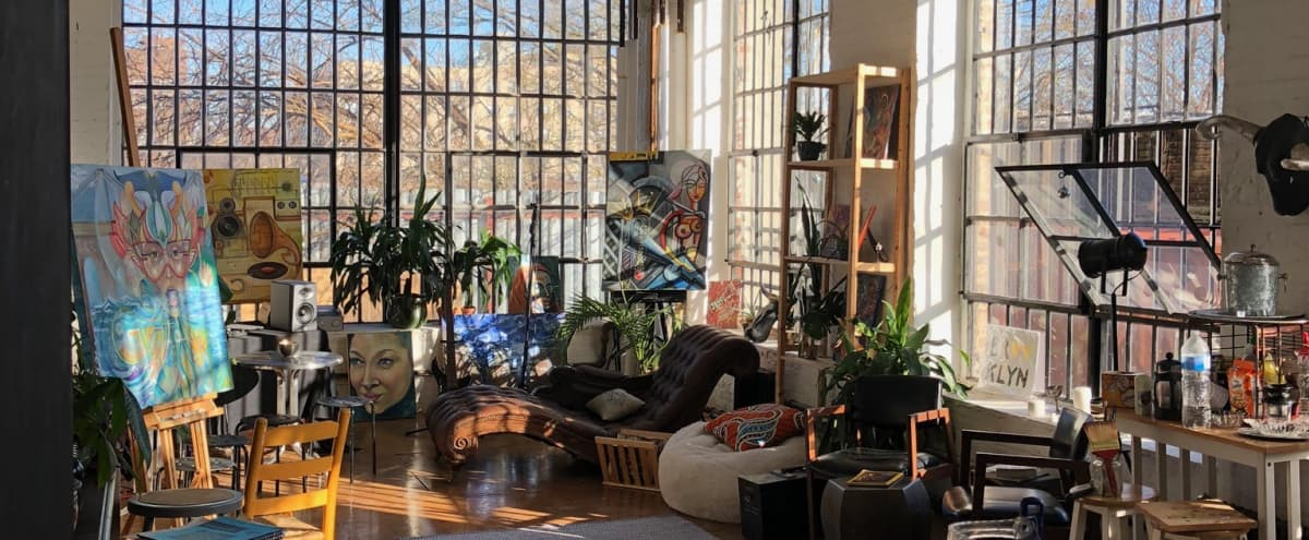 Beautiful large sunny artist's loft with 2 walls of industrial windows in Brooklyn Hero Image in Brownsville, Brooklyn, NY