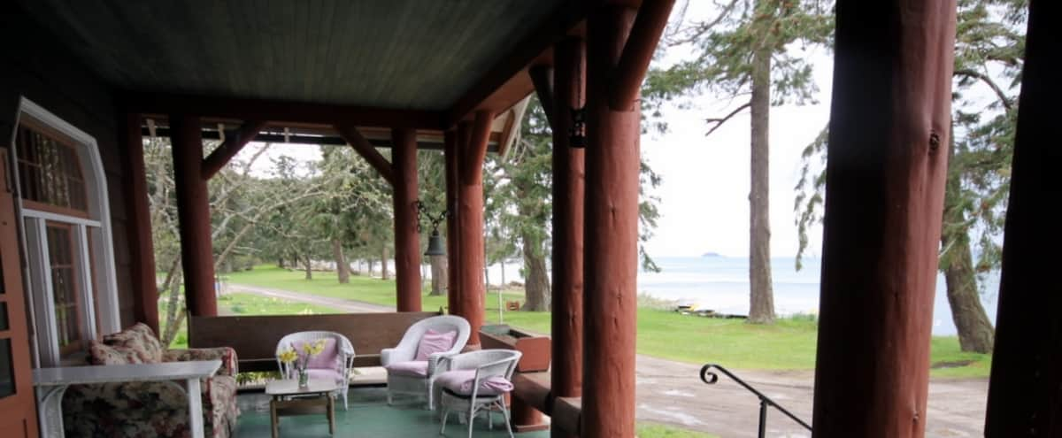 Vintage Beachfront Lodge with Great Room and Kitchen in Eastsound Hero Image in The Lodge, Eastsound, WA