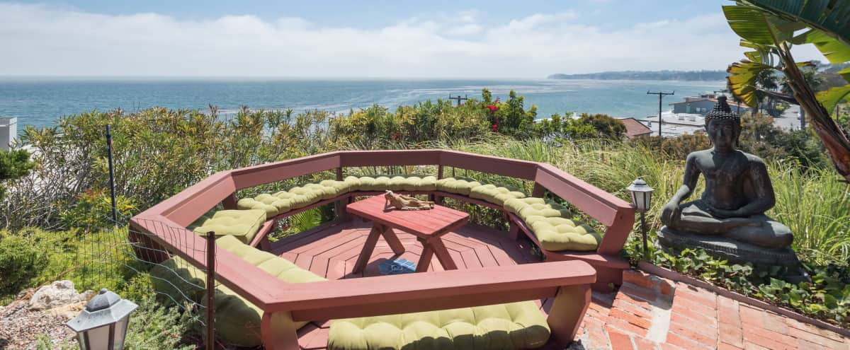 Shangri-La is a romantic hideaway with ocean views, relaxing retreat for yoga or meditation in the Buddha garden in Malibu Hero Image in Central Malibu, Malibu, CA