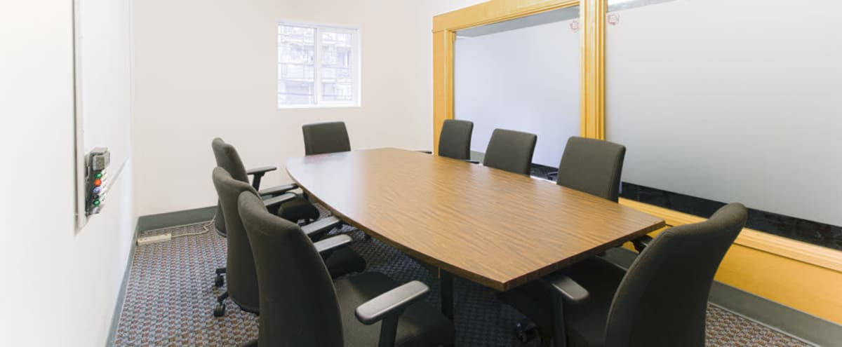 Clean 8 Person Meeting Room w/ Whiteboard in Vancouver Hero Image in Downtown Vancouver, Vancouver, BC