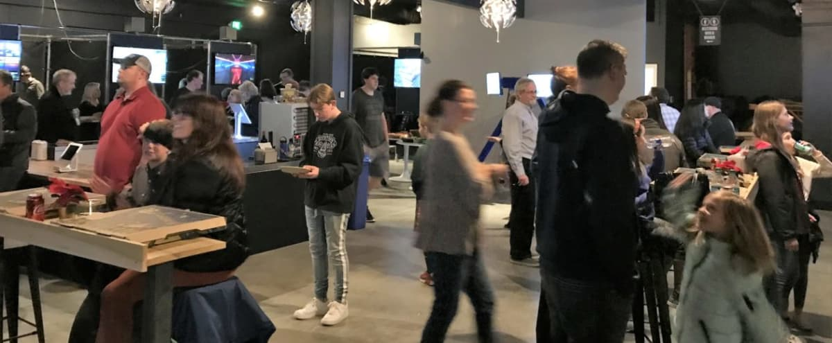 Stylish Industrial Lounge Space with Virtual Reality Booths Perfect for Private Events in Bellevue Hero Image in Crossroads, Bellevue, WA