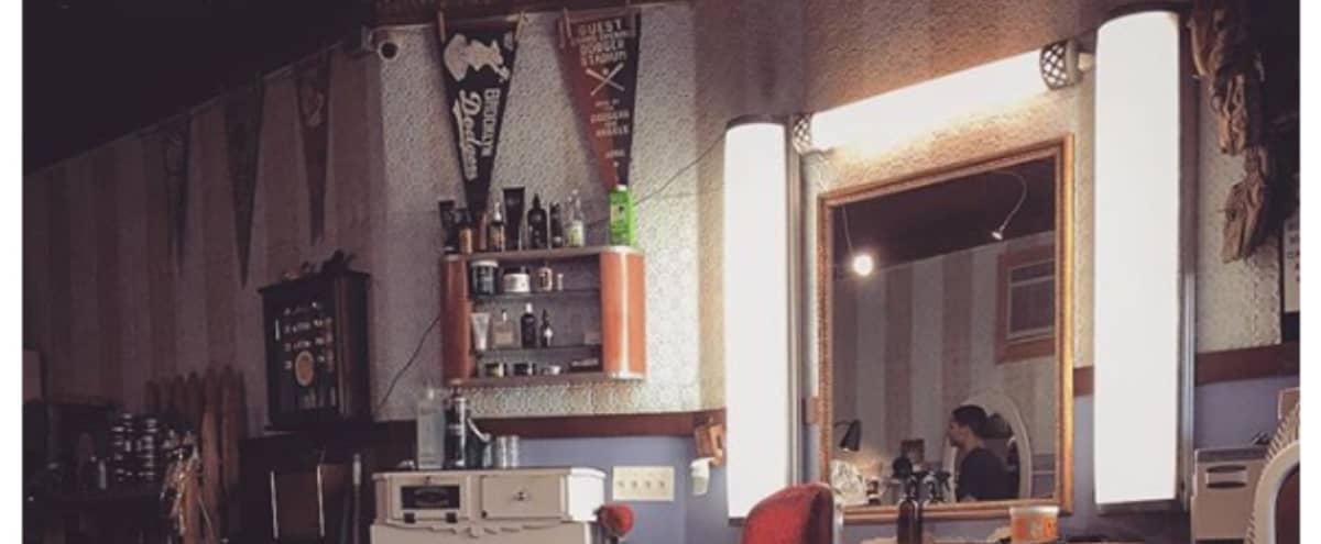 Working classic barbershop with sunlight in Brooklyn Hero Image in Williamsburg, Brooklyn, NY