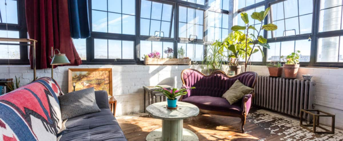 Artist/Designer's Corner Loft with Loads of Light & Character in Brooklyn Hero Image in East Williamsburg, Brooklyn, NY