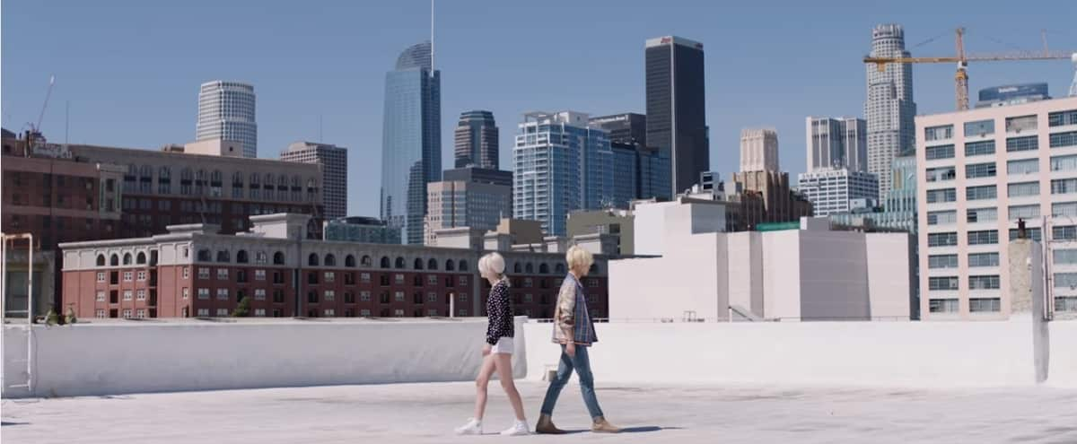 DTLA FASHION DISTRICT, ROOFTOP, WHITE SETTING, GREAT LIGHTING, VIEW OF DTLA SKYLINE in Los Angeles Hero Image in Central LA, Los Angeles, CA