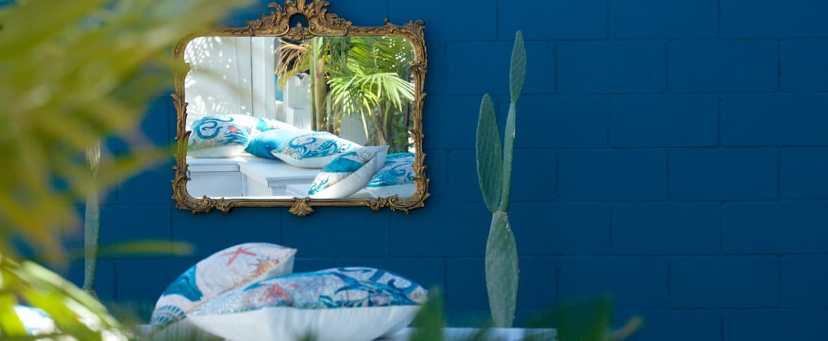 Mediterranean white and blue backyard in Van Nuys Hero Image in Lake Balboa, Van Nuys, CA