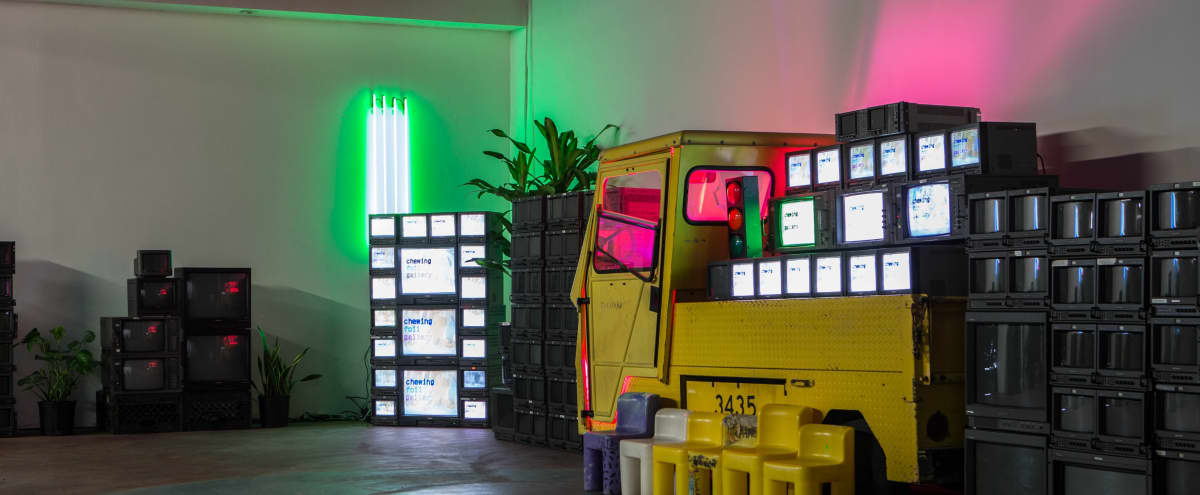 Spacious Art Gallery with Neon + Analog TVs in Los Angeles Hero Image in Central LA, Los Angeles, CA