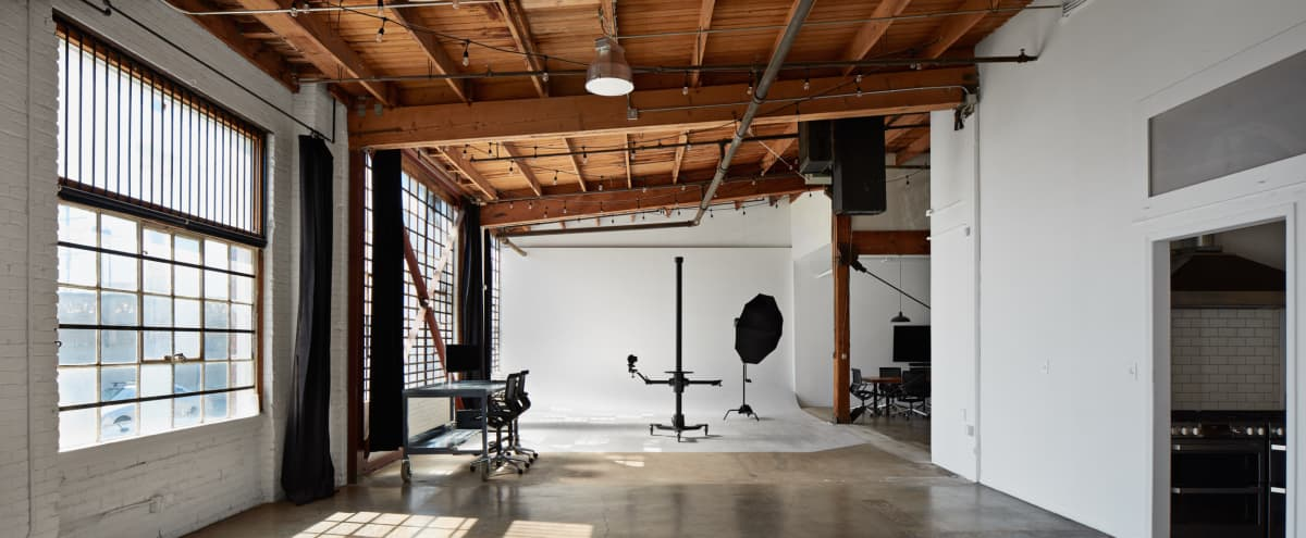 White Cyc Studio in DTLA w/ Full Kitchen and Great Natural Lighting in Los Angeles Hero Image in Central LA, Los Angeles, CA