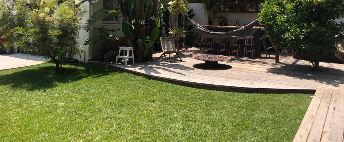 Chez Lister; A Mid century home and yard with fire pits, spa and bar located on the Westside. in Los Angeles Hero Image in Mar Vista, Los Angeles, CA