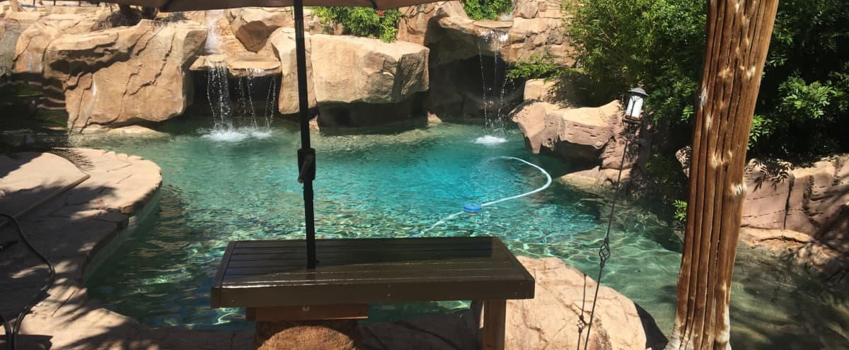 Pool with backyard oasis for photo shoot in Las Vegas Hero Image in Images, Las Vegas, NV