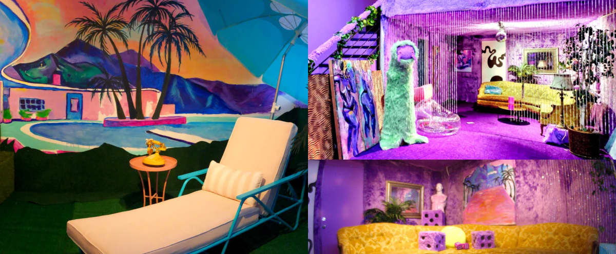 VITAWOOD - Psychedelic Purple Creative Photo/Video Studio with Colorful Poolside Mural Loft in Los Angeles Hero Image in Jefferson Park, Los Angeles, CA