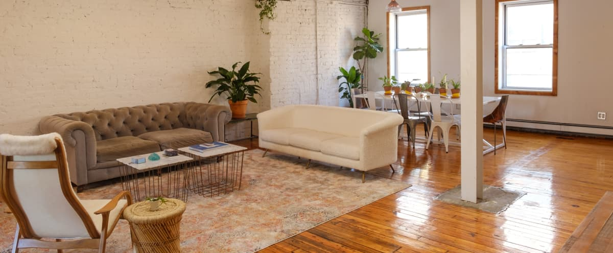 Light Filled Studio with Open Space and Chic Furniture in Brooklyn Hero Image in Greenpoint, Brooklyn, NY