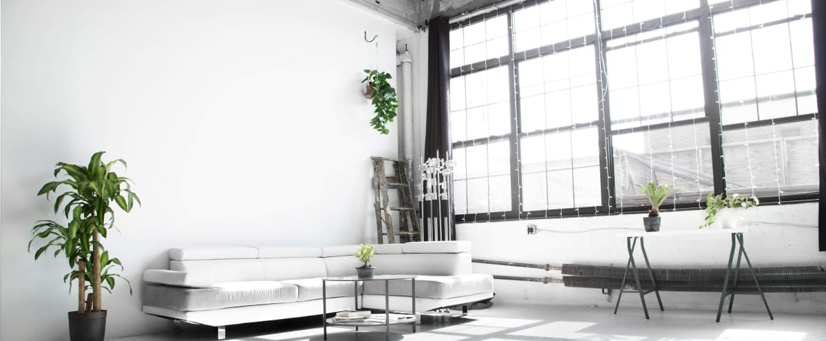 Glowing All-White Loft with Wall of Windows in Brooklyn Hero Image in Bedford-Stuyvesant, Brooklyn, NY