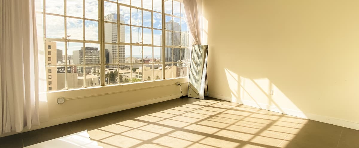 Natural light Photo Studio with Skyline View located in DTLA in Los Angeles Hero Image in Central LA, Los Angeles, CA