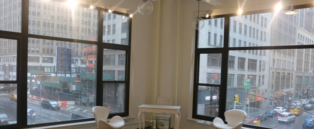 Midtown Open Studio Corner Space with Huge Window View in New York Hero Image in Midtown, New York, NY