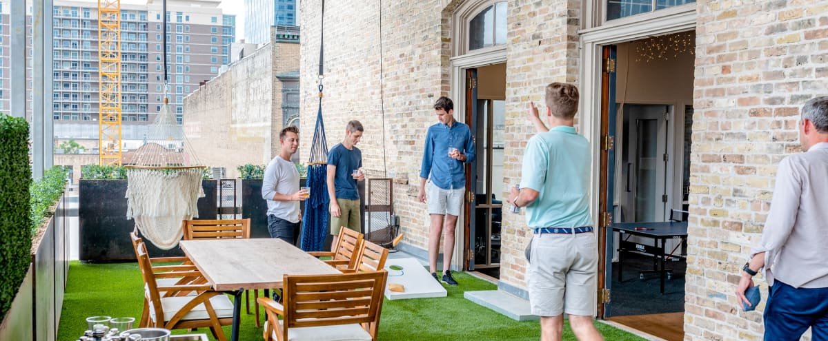 Trendy Startup Office with Green Patio on 6th Street in Austin Hero Image in Downtown Austin, Austin, TX
