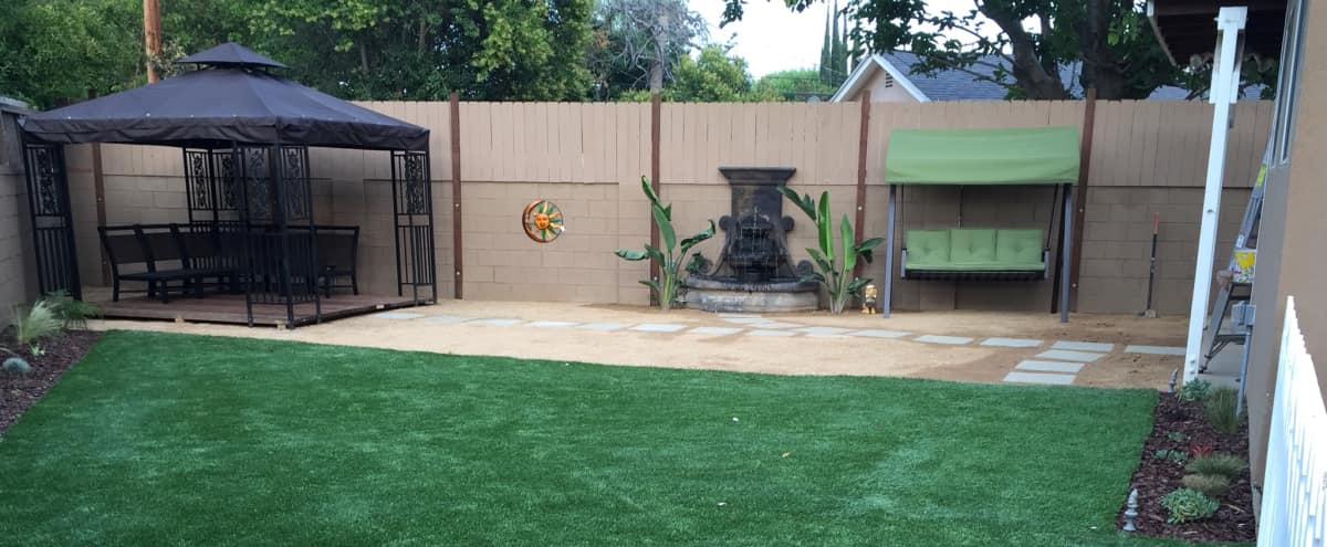 Outdoor Space - Land-scaped backyard with fountain, gazebo, garden. in Wodland Hills Hero Image in Winnetka, Wodland Hills, CA