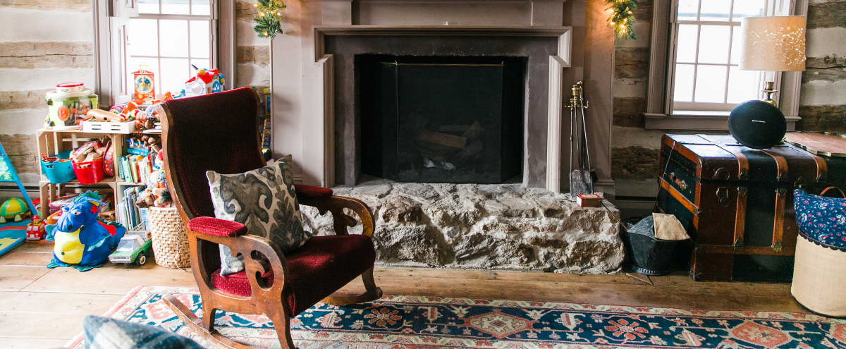 Classic Colonial Country Cabin. Enormous Fireplace & Hand Hewn Log Walls in Saylorsburg Hero Image in undefined, Saylorsburg, PA