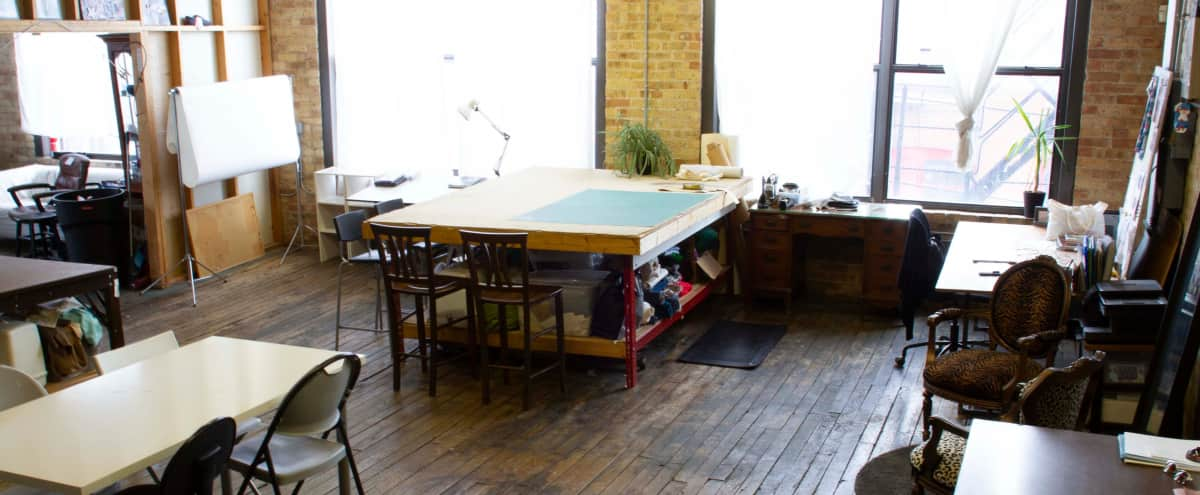 West Town Loft Fashion Studio with Work Tables in Chicago Hero Image in West Town, Chicago, IL