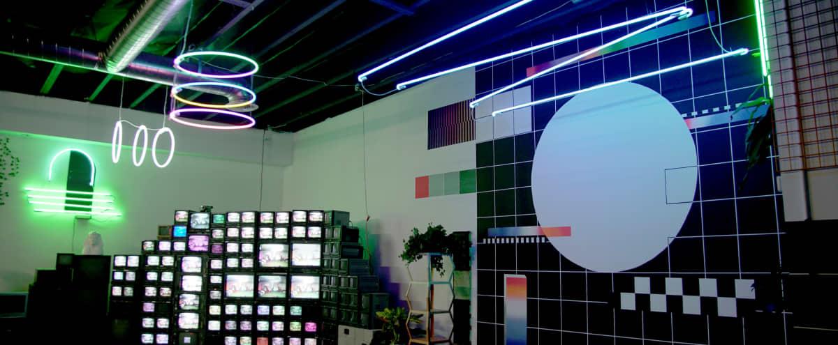 Spacious Art Gallery with Neon + Analog TVs in Los Angeles Hero Image in Central LA, Los Angeles, CA