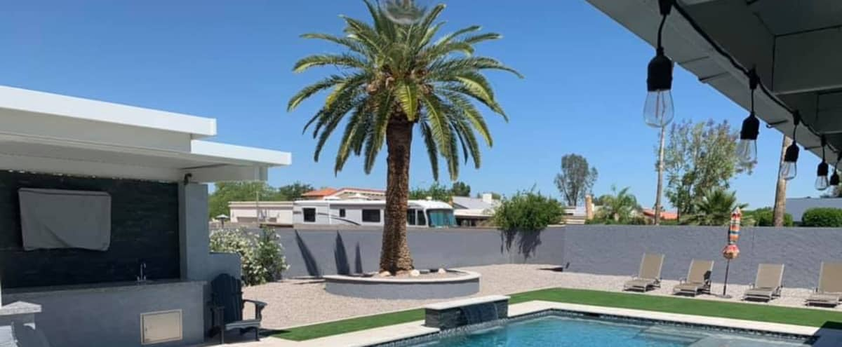 Film/Photo Location: Elegant Modern Home with Outdoor Pool in Chandler Hero Image in undefined, Chandler, AZ