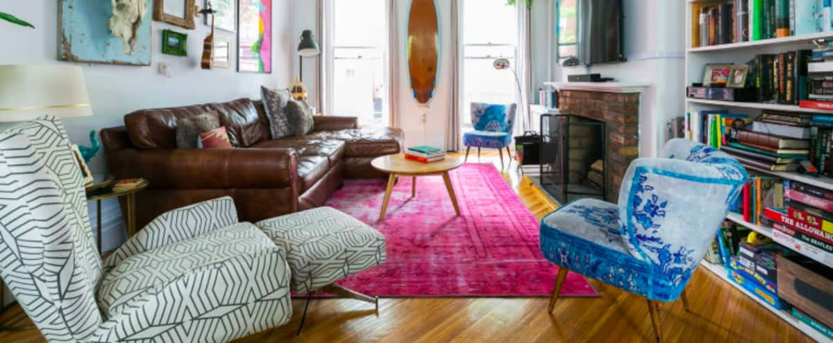 Sunny Cobble Hill Cozy + Eclectic Brownstone w/Backyard + Fireplace in Brooklyn Hero Image in Cobble Hill, Brooklyn, NY