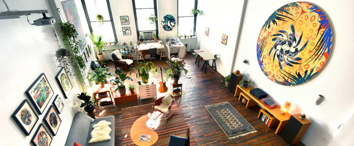 Huge, Bright Artist's Loft w/ Vibrant Art & Exotic Plants in Brooklyn Hero Image in Red Hook, Brooklyn, NY