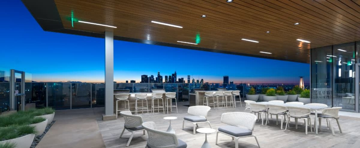 Downtown Skyline View, Full Service Kitchen, TV Lounge Area. in Los Angeles Hero Image in Central LA, Los Angeles, CA
