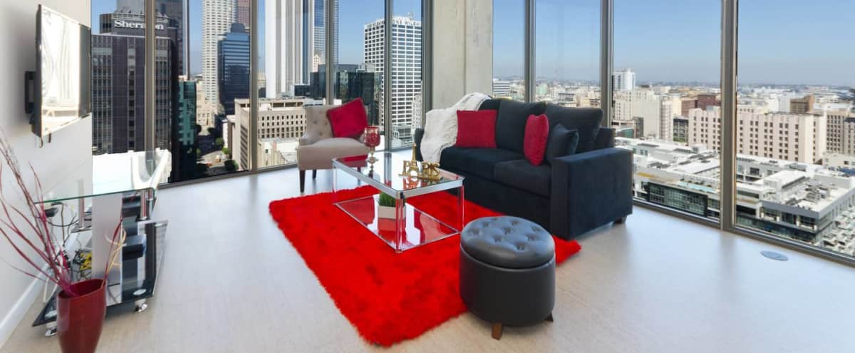 DOWNTOWN LA BLACK AND RED PENTHOUSE in Los Angeles Hero Image in South Park, Los Angeles, CA