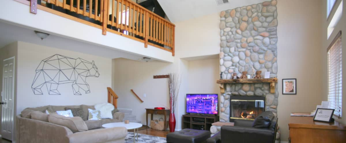 Big Bear Lake Log Chalet /Cabin - Mountain, Alpine cozy Vibe in contemporary bright 2 floors houseset up in Big Bear Lake Hero Image in undefined, Big Bear Lake, CA