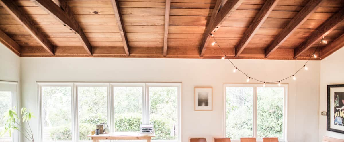 Light and bright, open room with kitchen, fireplace, table for 8 and great wooded outdoor space w a peek of the ocean! in Carmel Hero Image in Carmel Woods, Carmel, CA