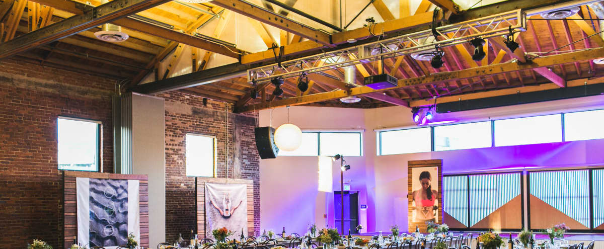 Beautiful, Bow-and-Truss Warehouse Loft-Style Venue with AV and Stage in Los Angeles Hero Image in Central LA, Los Angeles, CA