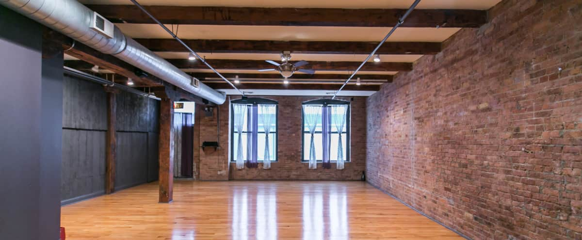Lofty, Urban Yoga Studio in River North w/ Exposed Brick & Rustic Feel in Chicago Hero Image in River North, Chicago, IL