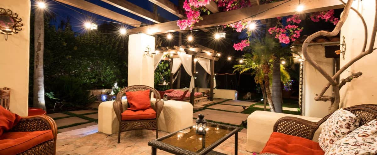 Zen garden and lighted space for your next show.  Spanish style home with open kitchen plan for awesome entertainment shots in WOODLAND HILLS Hero Image in Woodland Hills, WOODLAND HILLS, CA
